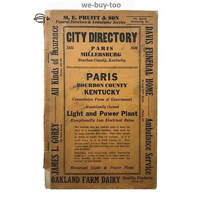 Original City Directory 1935, Paris, Kentucky, Segregation, Colored List