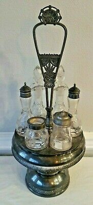 Vintage Caster Cruet Condiment Set Pairpoint Mfg Co Quadruple Silver Plate Glass