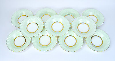 Gorgeous Set 12 Minton's for Tiffany & Co. Somerset Green Rimmed Soup Bowls