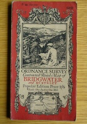 Early Ordnance Survey Map. 1 inch to 1 mile Bridgwater & District. cloth. 1918