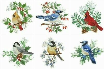 Christmas Birds 10 Quilt Blocks Embroidered Beautiful