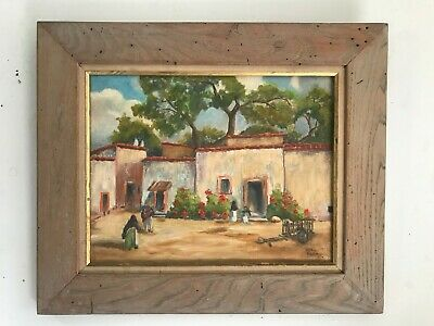 """MEXICAN STREET SCENE"" oil painting by listed California artist ALETHA MARTIN"