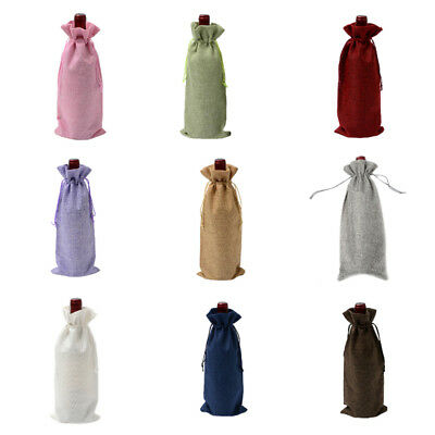 Rustic Burlap Bottle Bags Drawstring Wedding Wine Champagne Package Gift Bag TP