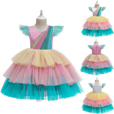 Toddler Kids Girls Sequin Princess Bridesmaid Pageant Gown Party Wedding Dress