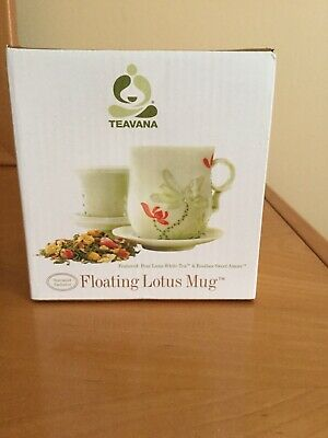 Teavana Floating Lotus Tea Mug Fine Porcelain 10 Oz Green Floral