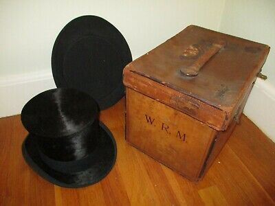 antique 2 TOP HAT Victorian steampunk collapsible opera vtg leather BOX suitcase