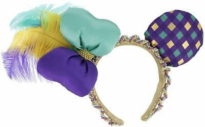 Disney Parks Mardi Gras Ornate Beaded Feathers Mickey Minnie Mouse Ears Headband