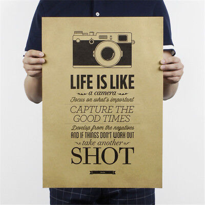 life is like a camera poster cafe bar painting retro kraft paper wall stick En