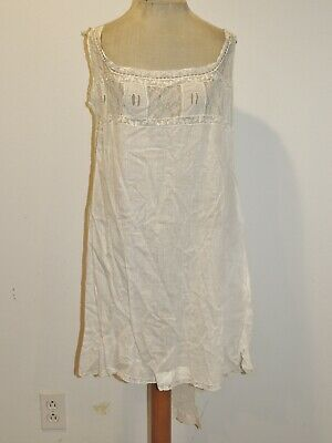 Edwardian Step In 1 PC White Cotton   Camisole / Bloomers w Lace S-M
