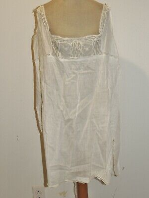 Edwardian Step In 1 PC White Cotton  Embroidered Camisole / Bloomers w Lace LG
