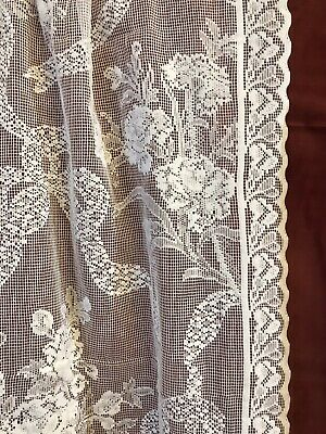 "Beautiful Anna French Ribbons Sample cotton lace curtain panelling 80"" Project"