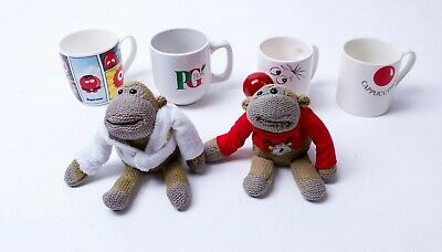 Pg Tips & Comic Relief 4x  Mugs & Monkeys Supernose you mug Cappuccinose post-it