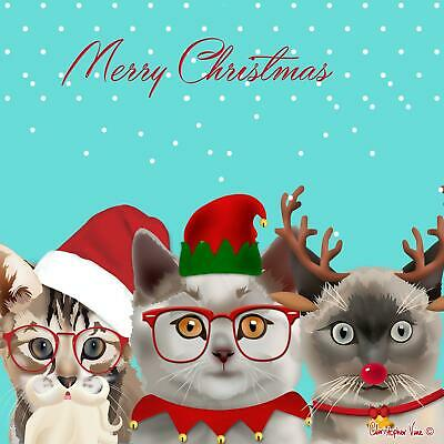 Three Kittens Funny Cat Glitter Greeting Card Christmas Cards Humorous Greetings