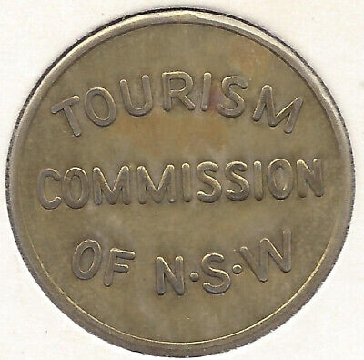 Tourism Commission of NSW Fig Tree Cave Inspection Entry Turnstile Token 29mm Br