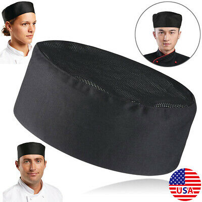 US Breathable Mesh Top Skull Bakers Cap Pro Catering Chefs Hat Adjustable Strap
