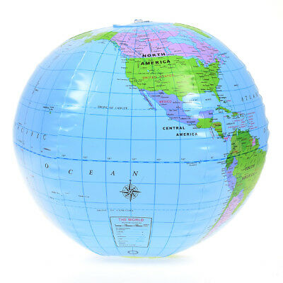 38CM PVC Inflatable Blow Up World Globe Earth Atlas Ball Map Geography Toy Tutor