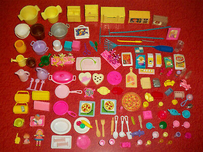 Big lot of barbie miniatures and?Food, dishware, utensils, cups bottles planter