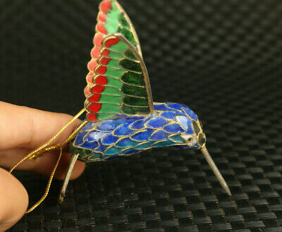 rare Chinese Old cloisonne hummingbird statue pendant necklace decoration gift