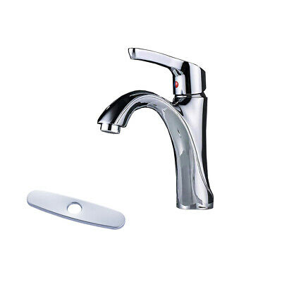 Bathroom Sink Faucet Chrome Waterfall Spout Basin Mixer Tap With Deck Plate