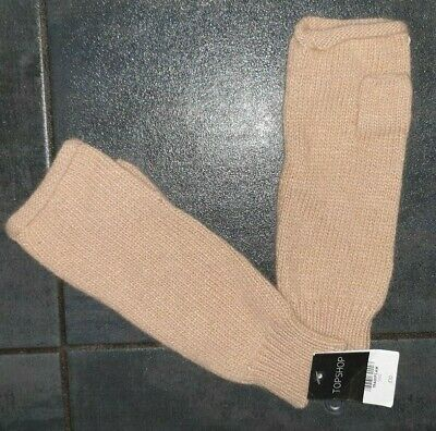 BNWT Topshop Camel Knitted Angora Rolled Edge Hand Warmer Gloves, RRP £10
