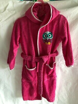 Topomini 104cm, Pink towelling bath robe with Owl detail - 100% cotton