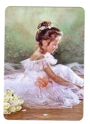 Modern Ballerina Girl in a White Dress -  Seconds Wide Linen  Swap Playing Card