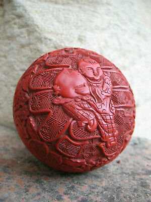 Ancienne Boite En Laque De Cinabre Chine Antique Chinese Lacquer Cinnabar Carved