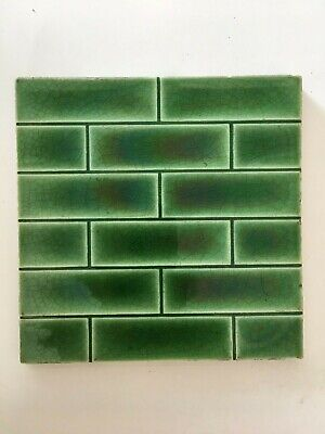 Green Art Deco Art Nouveau Vintage Brick Pattern Wall Tile - Antique