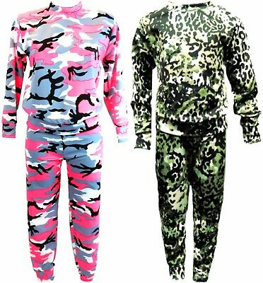 Girl's Kids Co-ord Army Camo Print Loungewear Tracksuit Outfit Set Ages 2-12