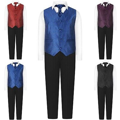 Page Boys 4 Piece Waistcoat Suit Regular Fit Formal Suits Wedding Prom Age 0-15