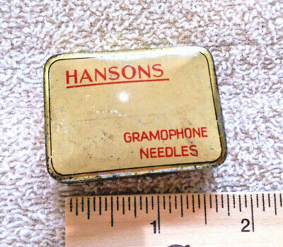 Vintage flip top tin - HANSONS Gramophone Needles Made In England , rustic, nice