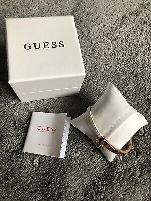 Brand New GUESS White Leather Rose Gold Heart Charm Bracelet Christmas Present