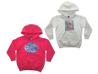 Disney Frozen Girls Hooded Sweatshirt Jumper Queen Elsa Anna Olaf Size 5-10 Year
