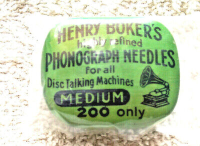 Vintage flip top metal tin - Henry Boker's highly refined  Phonograph Needles  .