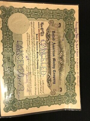 Vintage,1923,stock certificate,1000 shares united american Mining Company,nr