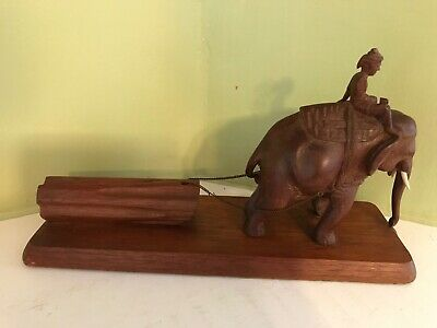 Antique Burmese Teak Carved Man Riding Elephant  Pulling Log length 12'