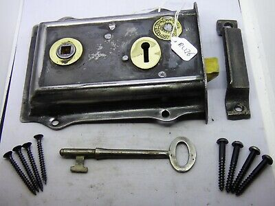 Antique old victorian cast iron left hand patented lock with hand cut key(RL176)
