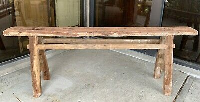 Chinese Antique Original Primitive Elm Wood Garden Farm Bench