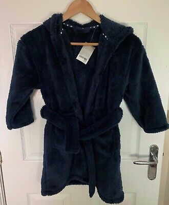 BNWT Boys NEXT Navy Blue Dressing Gown Robe - Age 5-6 Years