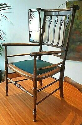 Antique 19th c  Mahogany Arts & Crafts High Back Armchair - Restored / Delivery