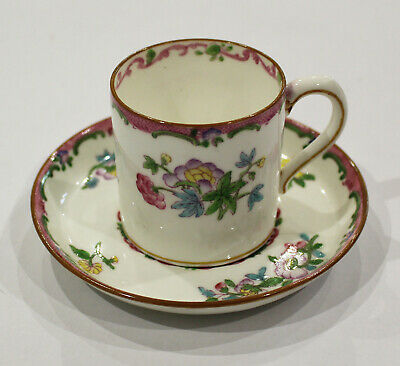 Antique Minton Coffee Can / Demitasse Cup & Saucer Pink Floral B925 RD.No 654443