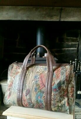 Vintage Tan/Tapestry/Carpet Large Grab Hand Bag Holdall Overnight Weekend Gym
