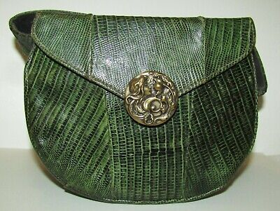 Rare, Antique Art Nouveau Green Leather Box Bag / Sterling Silver Iconic Clasp