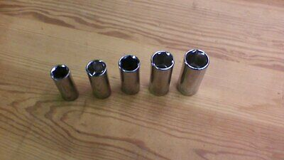 "STANLEY Standard Deep SOCKET SET SAE ~ 5 pieces ~ 3/8"" Drive, 6-Point sockets ~"