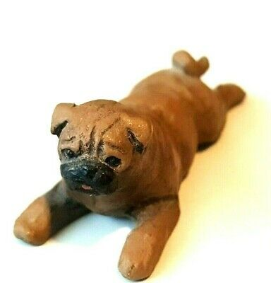 Pewter Pug Dog Figurine Painted Brown Cute Small Miniature Mini Laying Down Pup