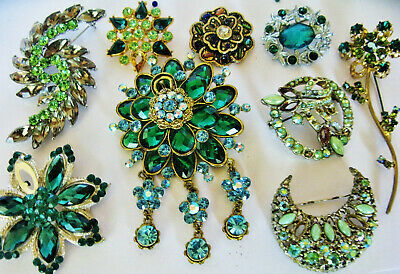 Crystal Brooches Vintage New/Old Jewellery Crescent Dangle Flower Job Lot Resale