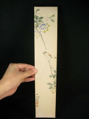 ANTIQUE (c.1920) JAPANESE SIGNED PAPER TANZAKU HAND PAINTED  SPARROW SUZUME