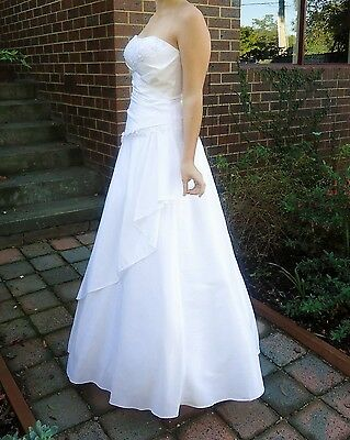 Debutante Dress, Strapless, White with beads, ankle length, Size 10/12.