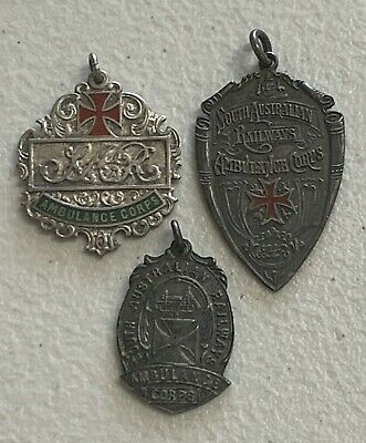 3 Sterling Silver SAR South Australian Railways Ambulance Corps Medal Badges