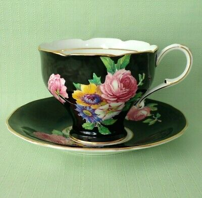 Lovely PARAGON Black on White Cup & Saucer ROSE floral bouquet & Gold